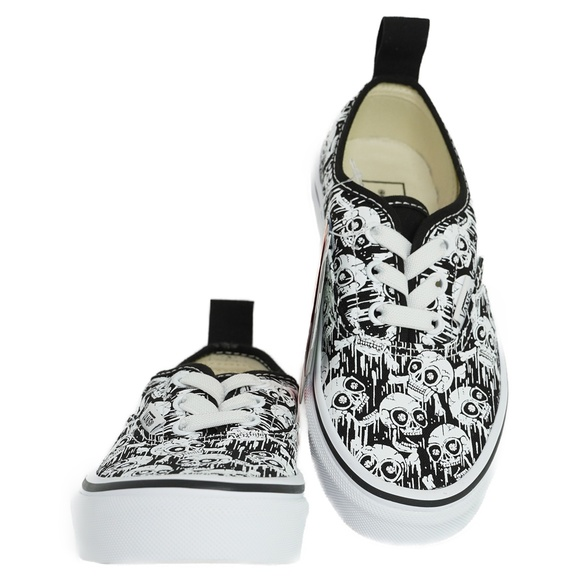 Details about  /Vans Authentic Elastic Glow Skulls Toddlers Canvas Trainers Shoes